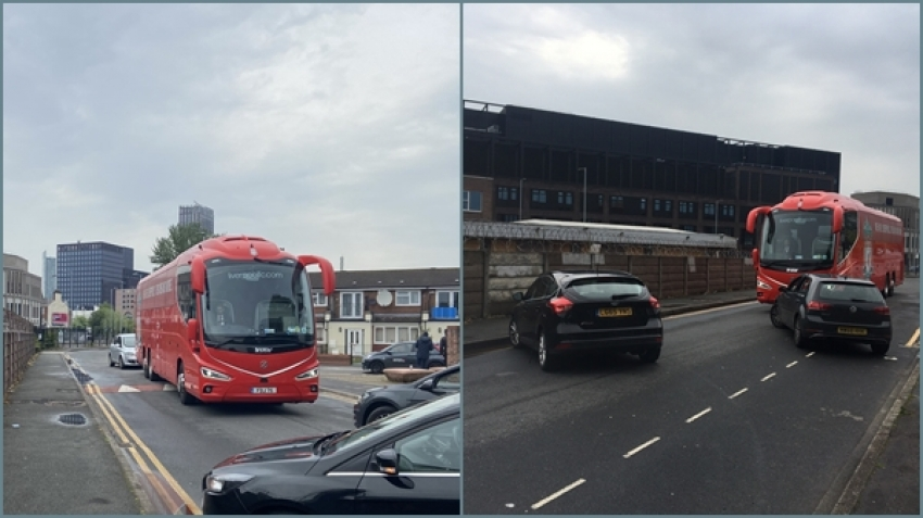 Unidentified cars surrounded the Liverpool club bus