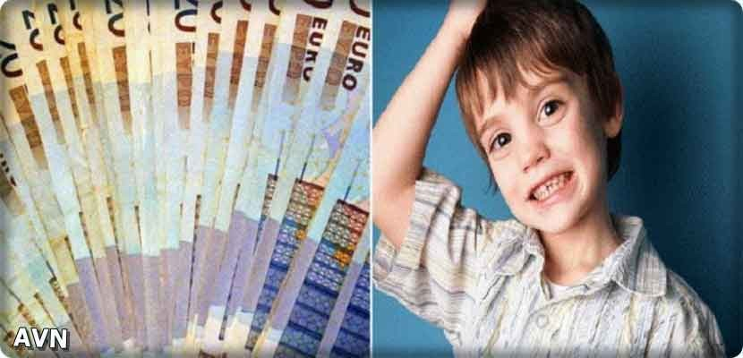 Germany: A boy distributes his parents' money to pedestrians