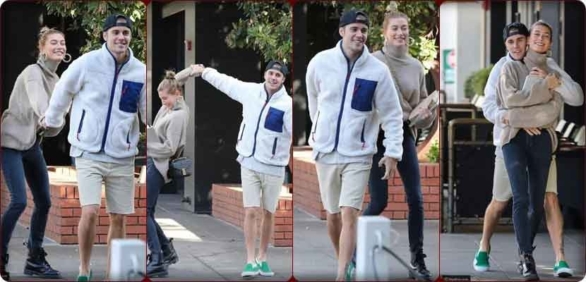 Justin Bieber and his wife, fashion model Hailey Baldwin, dance to the paparazzi