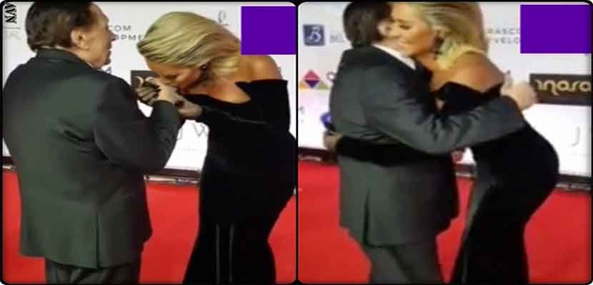Maya Diabkissed Adel Imam's hand in El Gouna Festival, video