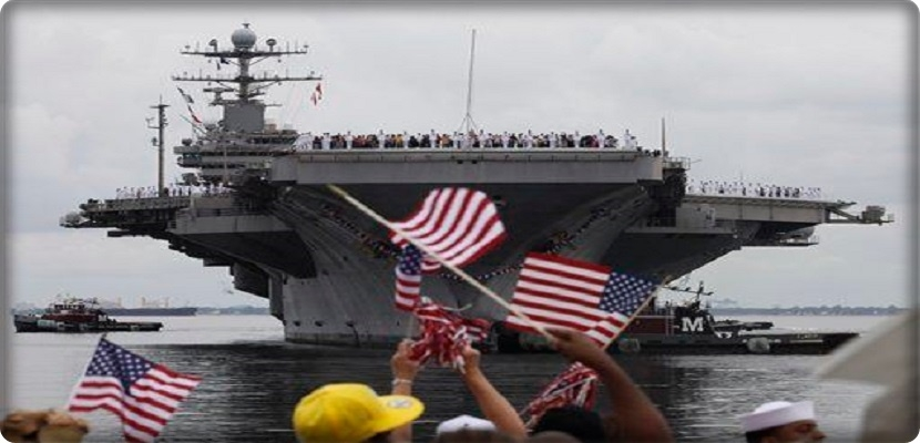 "The American aircraft carrier ""Abraham Lincoln"" in the Middle East"