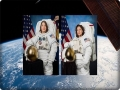 Astronauts Christina Cook and Jessica Meir leave space station