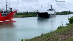 The accident occurred along the Welland Channel in Ontario, a shipping route linking Lake Erie and Lake Ontario in Canada.