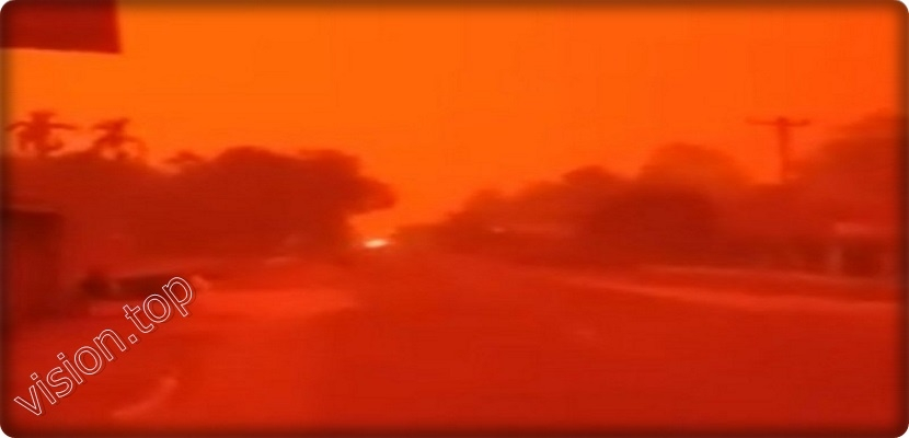 Video, Indonesia's blood-colored sky