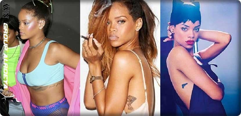 photo. Star Rihanna and Tato everywhere in her body