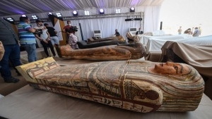 Vision Egypt News: - In the Saqqara region, colored wooden coffins in their original condition dating back to 600 BC were found