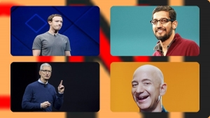 Tim Cook from Apple, Jeff Bezos from Amazon, Mark Zuckerberg from Facebook, Sundar Bishay from Google, and parent company Alphabet.