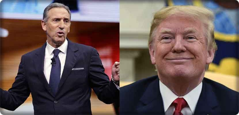 Howard Schultz and Donald Trump disagree about the rent and compete for the US elections