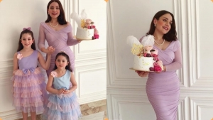 Great appearance of Haifa Wehbe's daughter and her granddaughters