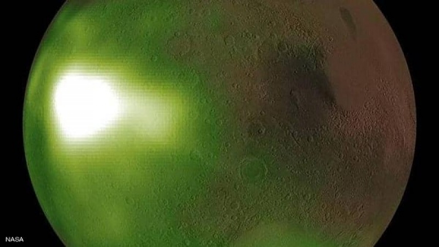 The reason for the transformation of the color of Mars from red to green