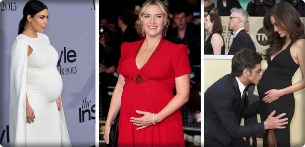 Hollywood stars on the red carpet during pregnancy