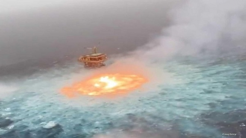 Eye of fire on the surface of the ocean, video